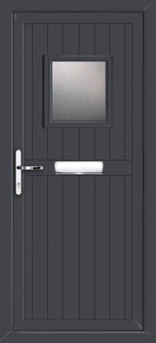 Glazed Anthracite Gray UPVC Front Door