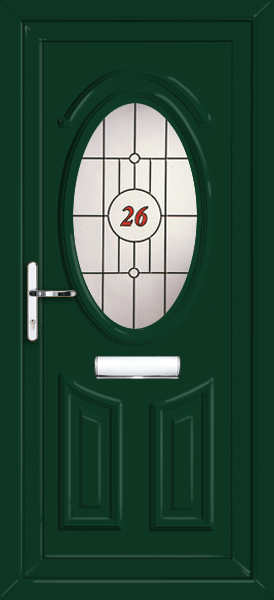 House number Green UPVC Front Door