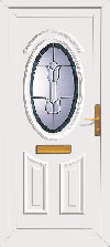 Upvc front door with oval glazing