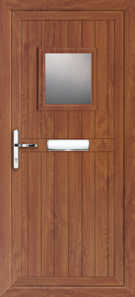 Golden oak upvc front door for Brown upvc door