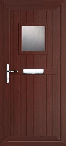 Glazed rosewood upvc front door for Ready made upvc doors